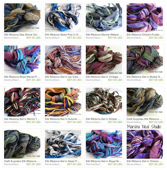 Various Silk Knot Bundle Color Variations from Marsha Neal Studio