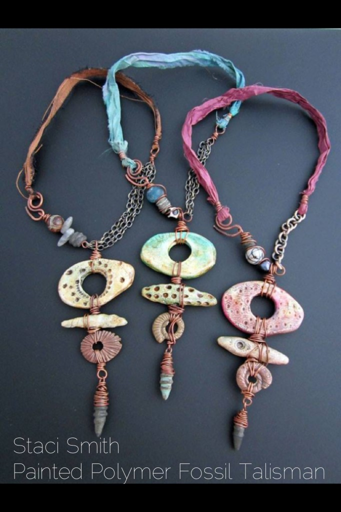 Staci Smith Painted Polymer Fossil Talisman Necklace Class Bead Fest 2014