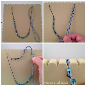 This image shows you my working position for braiding. I try to keep the beads up close to the working braid area, and move it as I need more space.