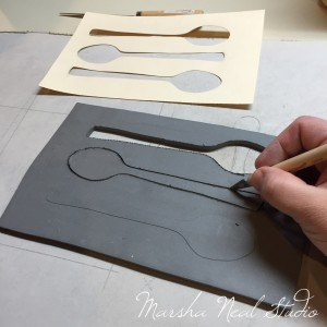 Cutting out basic spoon shape.