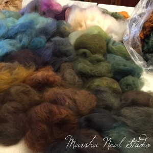 Custom blended merino wool colors. I just love this part!
