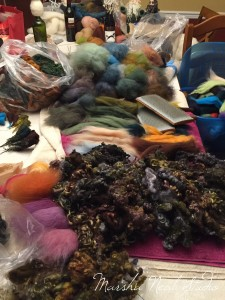To figure out the color palette, I decided to pull out my Zombie locks, then start mixing Merino wool from Sarafina to see what colors I could get.